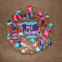 BEST GIFT Teacher Gift- Personalized hand painted Canvas intertwined in your Customized Wreath. Your Choice of Colors, Design, Theme Etc.