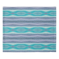 Decorative Lavender and Aqua Striped Stitch Patter Duvet Cover