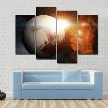 Dwarf Planet In The Solar System- Pluto Multi Panel Canvas Wall Art