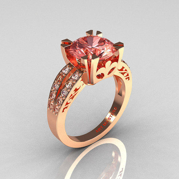 Modern Vintage 18K Rose Gold 3.0 Carat Morganite Diamond Solitaire Ring R102-18KRGDMO
