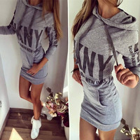 """DKNY"" Alphabet Print & Logo Long Sleeve Hoodie Women's One Piece Dress [6698460679]"