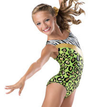 Asymmetrical Multi Animal Print Gymnastic Leotard