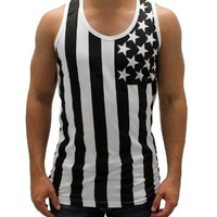 American Summer Black and White US Flag Men's Tank Top (XX-Large)