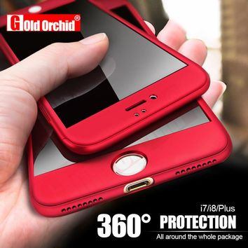 Gold Orchid 360 Degree Full Cover Case For iPhone 6 6s 7 Plus Cases wish Tempered Glass For iphone 8 8 Plus X Phone Case Capa
