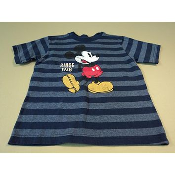Disney Store Boys T-Shirt Mikey Mouse Cotton Polyester 4XS Blues Striped -- Used