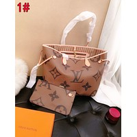 LV Louis Vuitton Women Shopping Leather Tote Handbag Shoulder Bag Purse Wallet Set Two-Piece 1#