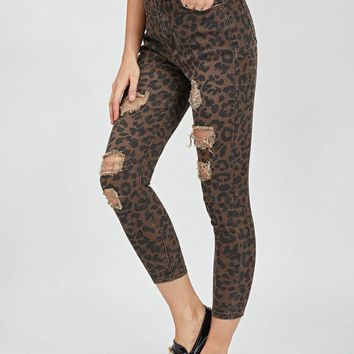Ripped Detail Leopard Jeans