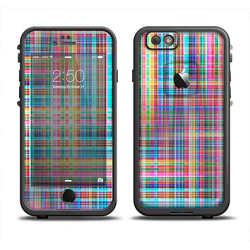 The Neon Faded Rainbow Plaid Apple iPhone 6/6s LifeProof Fre Case Skin Set