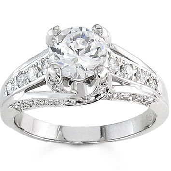 Ladies vintage Platinum engagement ring 0.50ctw G-VS2 quality diamonds with a natural 1ct Round White Sapphire center