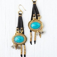 Free People Leather and Stone Drop Earrings