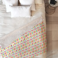 Allyson Johnson Super Bright Aztec Fleece Throw Blanket