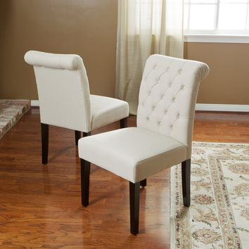 Elmerson Tufted Ivory Fabric Dining Chair (Set of 2)