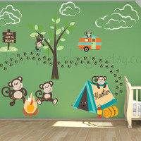 Nursery wall decal, camping wall decal, monkey wall decals, personalized children's wall decals, monkey wall sticker, camping wall art