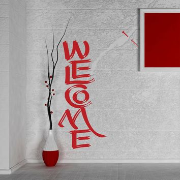 Large Wall Vinyl Decal Decorative Welcome Hand Lettering Home Interior Decor n997