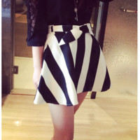 2016 Brand New Womens Clothing Spring And Summer Style New Korean Wave Point Wild Striped Bow Waist Ultra-Slim Waist Shorts