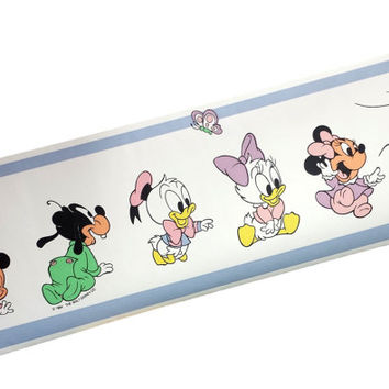 80s Disney Babies Wallpaper Border Baby Mickey Minnie Mouse Pluto Goofy Donald Daisy Duck Vintage Kids Nursery Room Wall Trim Decor Retro