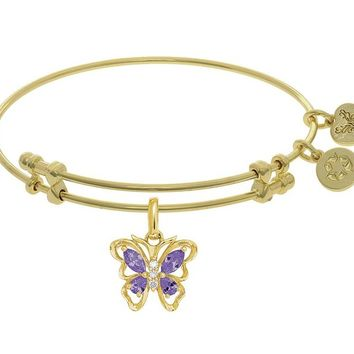 Brass White Butterfly Charm Purple+white CZ On Yellow Bangle