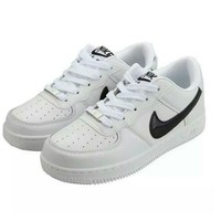 NIKE Women Men Running Sport Casual Shoes Air force Low tops White-black