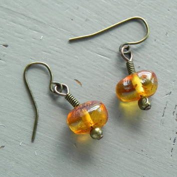 Boho Amber Earrings // Bohemian Baltic Amber Earrings // Tribal Brass Earrings
