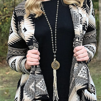 On A Whim Black and Tan Aztec Cardigan