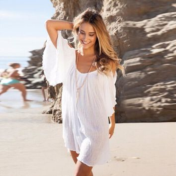 2017 Fashion New Brand Women Summer Cotton Dress Sexy Loose O-Neck Petal Sleeve Casual Mini White Beach Dresses