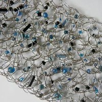 Silver Crochets Cuff Bracelet with Blue Beads by asiasi on Etsy