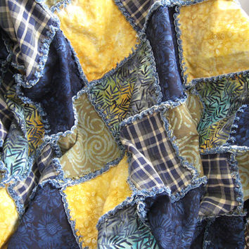 Batik and denim boho rag quilt throw in navy blue and yellow gold