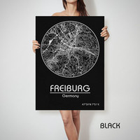 FREIBURG Germany map City Street Map Art Print Poster City Graphical Map Wall Art Perfect Gift Home Decor Gift
