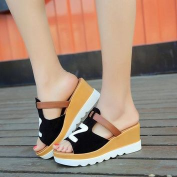 Summer Fashion Gladiator Casual Solid Color Wedges