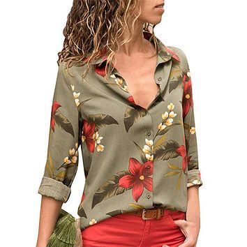 Floral Print Long Sleeve Turn Down Collar Blouse Ladies Shirts Striped Tunic Plus Size