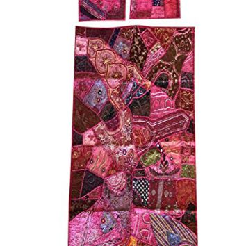 Mogul Interior Pink Vintage Handmade Banjara Tapestry With Cushion Cover Patchwork Beaded Wall Hanging