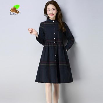 New Spring women red plaid cotton Shirt brand dress girls casual stripe dresses office lady clothes