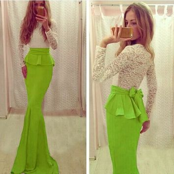 Green Patchwork Draped Bow Round Neck Fashion Maxi Dress