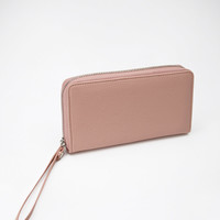 Zippered Faux Leather Phone Wallet