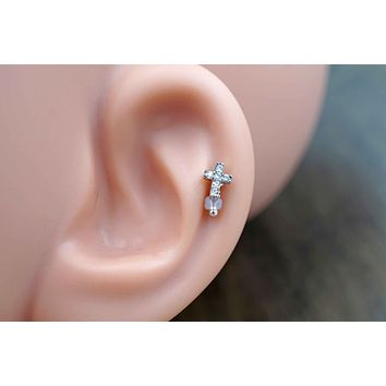 Silver Crystal Cross Cartilage Earring Tragus Helix Piercing