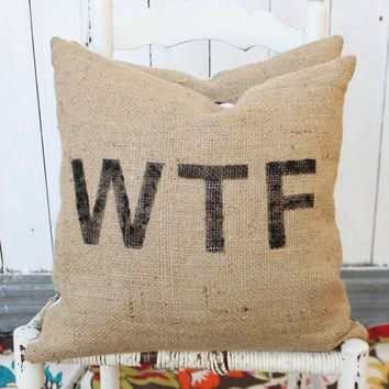 WTF Burlap & Chevron 18 Pillow Hand Painted by MySwallowsNest