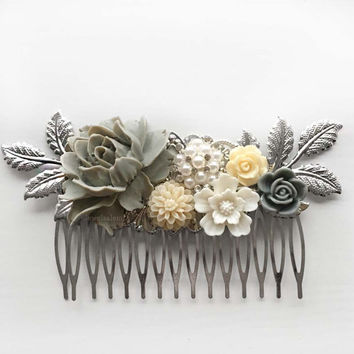 Silver Wedding Hair Comb, Pigeon Gray, Ivory, Bridal Hair Pin, Hair Clip, Bride, Bridesmaids, Hair Slide, Rhinestone Crystal, Pearl