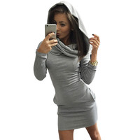 Autumn Winter Dress Cotton Long Sleeve Hooded Fashion