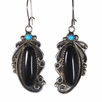 Vintage Navajo Onyx Turquoise Dangle Earrings Thelma Yazzie