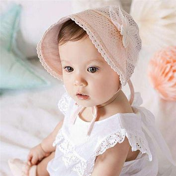 Cute Baby Girls Cap Sweet Lovely Princess Sunshade Hat Fashion Children Kids Pink White Lace Floral Caps Summer
