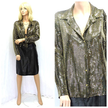 80s gold sequined blouse M 1980s metallic sheer gold glitter disco glam top retro hip hop shiny gold long sleeve blouse SunnyBohoVintage