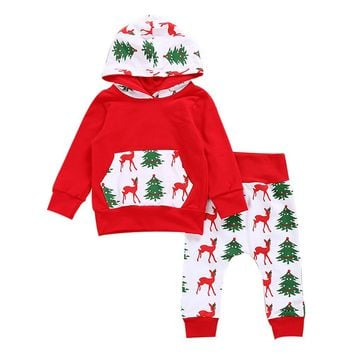 2017 Red Baby Girls Boys Deer Outfits Hooded Hoodie Tops+Pants Bodysuit Set Unisex Kids Clothes Christmas Style tree pattern