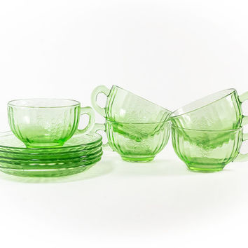 Hazel Atlas Fruits Cup and Saucer Sets in Green, Set of 5