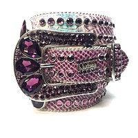 B.B. Simon Purple Python Swarovski Crystal Belt