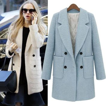 UK 2017 Autumn Winter Women Turquoise blue White Simple Woolen Long Coat  Notched Thick Tweed Outerwear Casacos femininos
