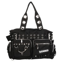 Gothic shop: Banned handcuff handbag, black canvas