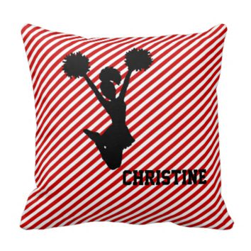 Red Striped Cheerleader Pillow