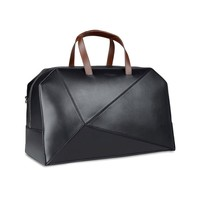 Travel bag Dual zip closure Internal zip pocket Re Black Leather (45213016UP) | Z Zegna