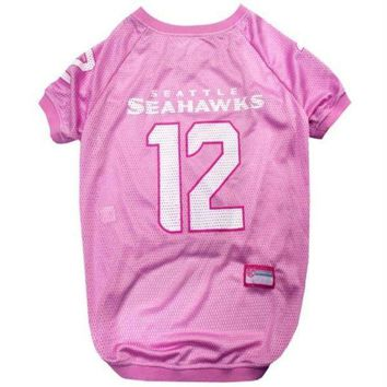 spbest Seattle Seahawks '12th Man' Pink Pet Jersey