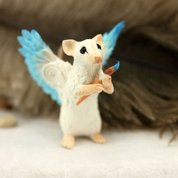 Winged Rat Artist Mouse figurine art sculpture pet, Rat angel, rat totem, amulet, fairy, fantasy